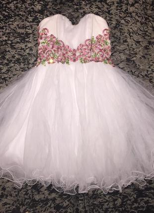 Шикарное платье зефирка вечернее выпускное свадебное короткое