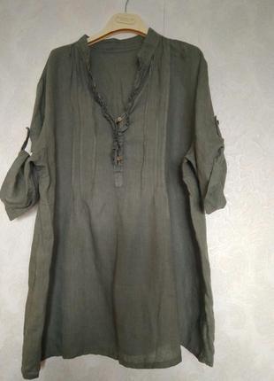 Льняная блуза большого размера