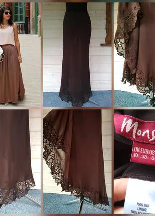 Длинная, шёлковая юбочка вкусного шоколадного цвета, 100% шёлк