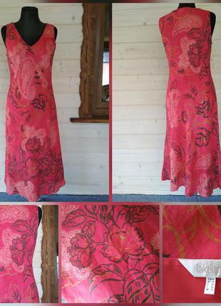 Яркое, натуральное, льняное платье сарафан, 100% лен