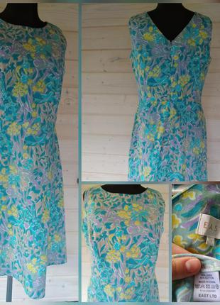 Фирменное, полностю 100% натуральное, льняное, котоновое платье миди, супер состав!!!
