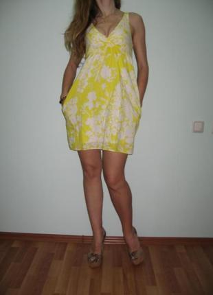 Лимонное платье.хлопок.р-р хс=с