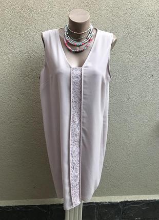 Нюдовое платье,туника,блуза на подкладке,впереди кружево,большой размер,)next