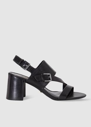 Ralph lauren оригинал кожаные черные босоножки на широком каблуке бренд из сша