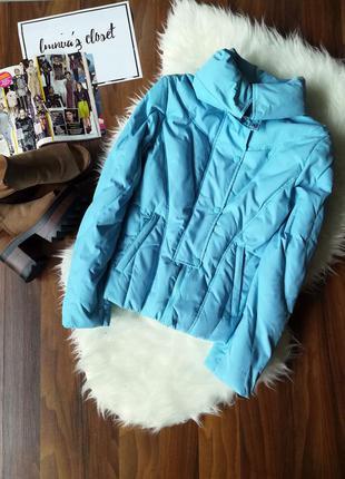 Зимняя теплая пуховая куртка пуховик с высоким горлом воротом воротником на пуху