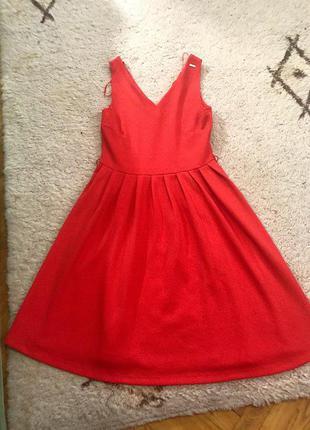 Платье миди кораллового цвета