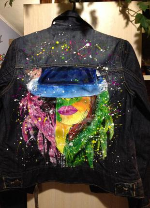 Роспись джинсовый пиджак oasis