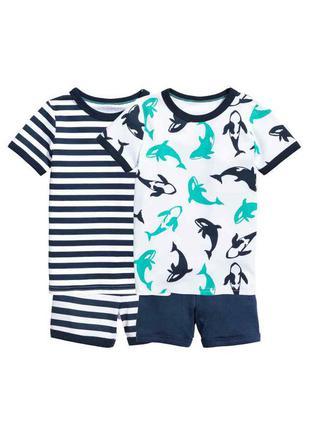 Цена за 2 комплекта! комплекты для дома, пижама (шорты + футболка) h&m 4-6 лет