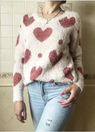 Милый свитерок травка в сердечки, мягкий george