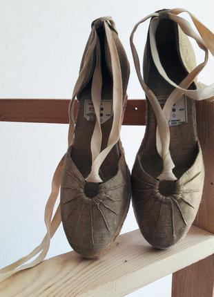 Босоножки туфли на платформе на каблуке плетенка завязки