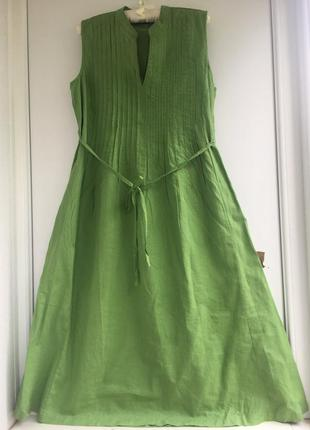Бесподобное натуральное платье, натуральный лён, цвет зеленой травы