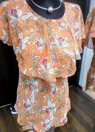 Невесомая блуза в цветочный принт очень элегантного фасона