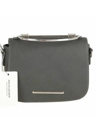 Шикарна сумочка з металевою ручкою david jones темно-сіра