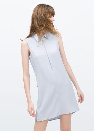 Голубое платье zara оригинального кроя