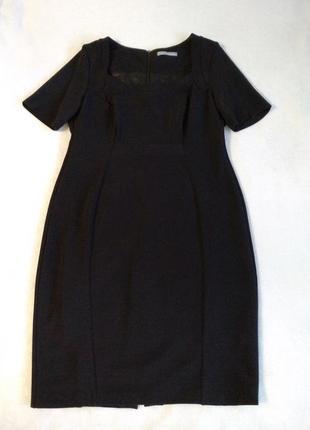 Шикарное классическое чёрное платье миди вечернее офисное деловое
