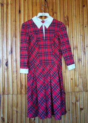 Красное клетчатое платье olko