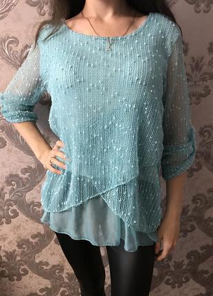 Красивая мятная блузка кофточка джемпер италия