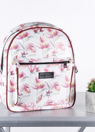 Белый женский маленький рюкзак городской (экокожа)