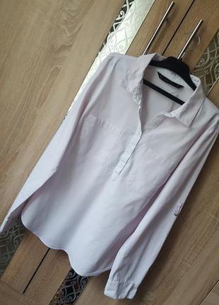 Нежно розовая рубашка с 2 карманами рукав трансформер zara