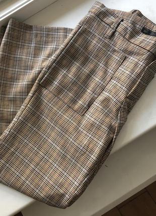 Укорочение клетчатые брюки zara