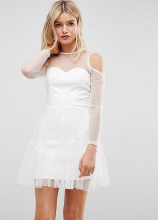Платье с прозрачными рукавами asos,р-р 10