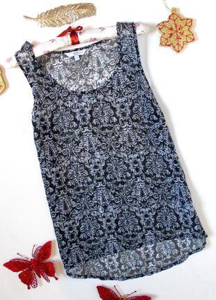 Легкий топ с принтом блуза шифоновая летняя легкая с узором