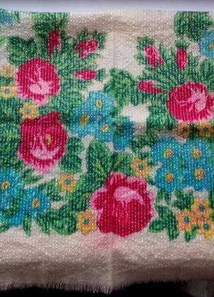 Платок в народном стиле принт цветы винтаж