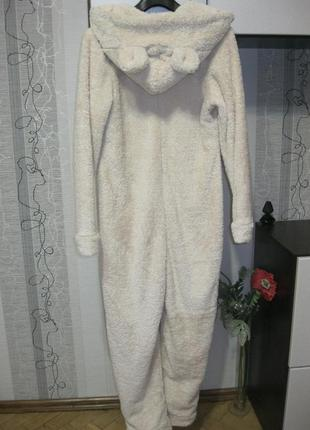 Меховая умка мишка на севере пижама кигуруми комбинезон тепло и уютно м