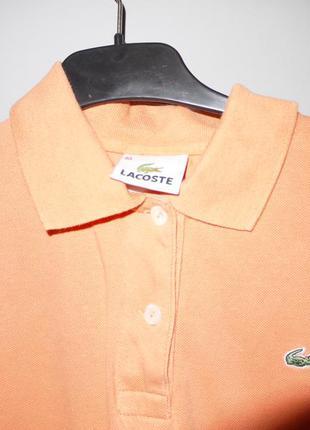 Lacoste тенниска персикового цвета  лакоста оригинал футболка с воротником