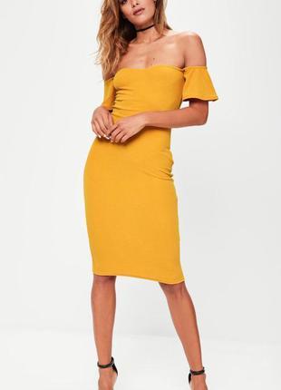 Платье мили горчичное, asos, missguided