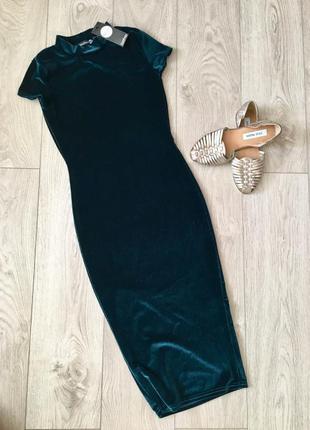 Велюровое платье миди изумрудного цвета вечернее  boohoo p.s платье футляр