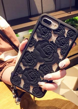 Чехол айфон 6 6s 6plus 6s+ 7 8 7+ 8plus x xs розы супер красивая защита