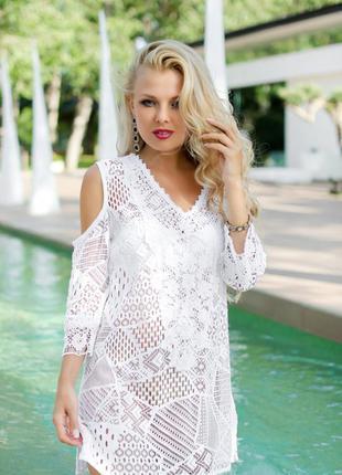 Летние коттоновые пляжные кружевные туники s-хl, fresh-cotton