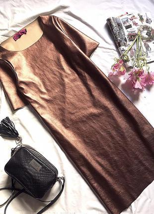 Бронзовое платье металлик с напылением