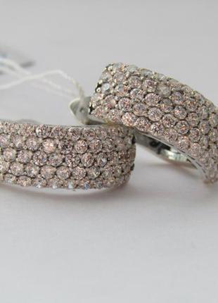 Серебряные серьги дорожка в камнях
