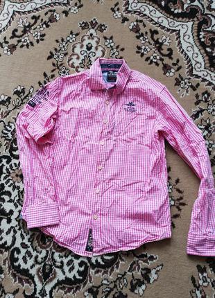 Рубашка, клетка, розовая
