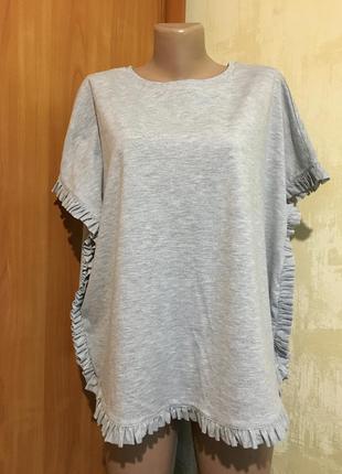 Трикотажная меланжевая футболка,блуза!
