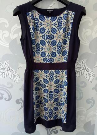 Лекое синее короткое летнее платье warehouse