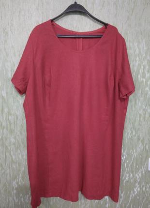 """Яркое, красное, короткое платье """"королевского размера""""/большого размера/батальное/лен"""