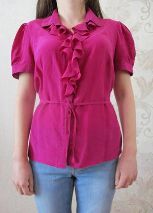 Блуза с воланчиками фуксия/100% шелк/m-l