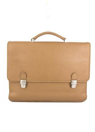 Кожаный портфель, италия, персикового цвета