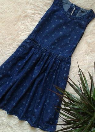Джинсовое платье/сарафан с карманами, принт звездочки, размер 152-158, gap