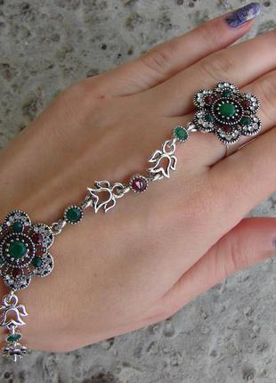 Шикарный слейв браслет с кольцом в восточном стиле в стиле gucci. цвет серебро