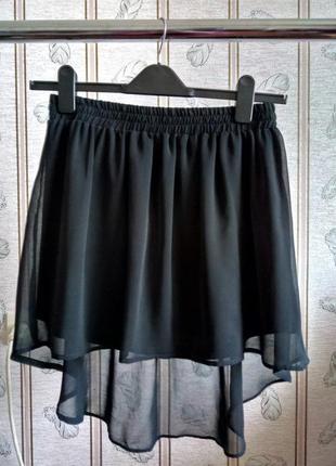 Черная шифоновая юбка stradivarius