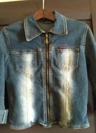 Джинсовая рубашка - куртка на змейке темно синия