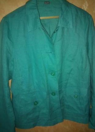 Элегантный блейзер жакет пиджак лен цвета бирюзы новый 48-50 р.