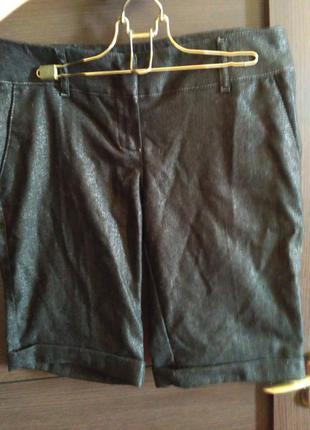 Шорты женские шерстяные черные мелкая елочка люрекс