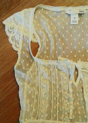 Подарок- красивая блузка /кофточка сетка в горошек цвета слоновой кости