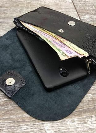 Клатч - кошелёк из натуральной кожи.
