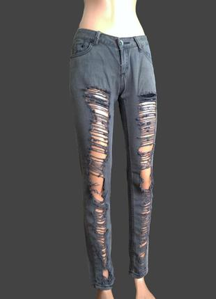 Хит 2018 рваные джинсы серые
